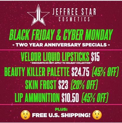 Jeffree Star Cosmetics Announces Black Friday Cyber Monday Deals Beauty Steals
